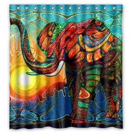 DOUBEE Chic Haltbarer Kunst Elefant Bunt Wasserdichtes Duschvorhänge Shower Curtain 167cm x 183cm - 1