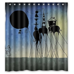 DOUBEE Chic Haltbarer Kunst Elefant Sketch Wasserdichtes Duschvorhänge Shower Curtain 167cm x 183cm - 1