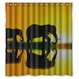 DOUBEE Chic Haltbarer Kunst Elefant umgekehrtes Bild Wasserdichtes Duschvorhänge Shower Curtain 167cm x 183cm - 1