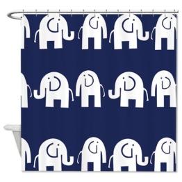 Duschvorhang dunkelblau Elefant Polyester 180cm x 180cm mit Duschvorhangringe - 1