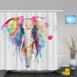 """Duschvorhang, Motiv Afrikanischer Elefant, Malerei, für Badezimmer, Dusche, hohe Qualität, Polyester, farbbeständig, wasserdicht, 152,4x 182,9cm, Multi2, 66""""(Width)x72""""(Length) - 1"""