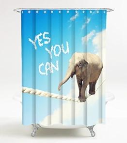 Duschvorhang Yes you can 180 x 200 cm, hochwertige Qualität, 100% Polyester, wasserdicht, Anti-Schimmel-Effekt, inkl. 12 Duschvorhangringe - 1