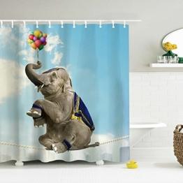 ToHa Duschvorhang Elefant,Ballon und Akrobatik Elephant Bunte Dekoration für Badezimmer 180cmx180cm - 1