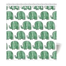 Violetpos Grün Elefanten Collage Duschvorhang Badezimmer Dekorative 90 x 180 cm - 1