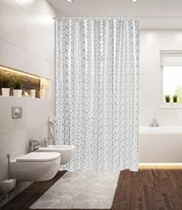 "Duschvorhang ""PIXEL GRID"" 180x200 cm mit Ringen Modern & Trendig Vorhang - 1"