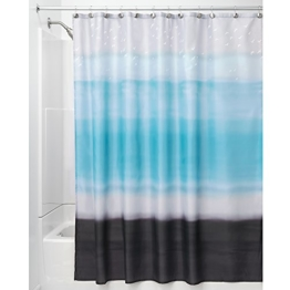 InterDesign Horizon Duschvorhang | kunstvoller Vorhang für Badewanne und Dusche in 183,0 cm x 183,0 cm | Duschvorhang aus Stoff mit Aquarellmuster| Polyester blau/schwarz - 1