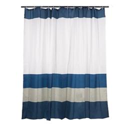 Smartfox Duschvorhang Weiß mit blauen Streifen, 180x200 cm, 12 Ösen inkl. 12 Kunststoffringen - 1