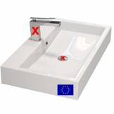 Design Waschbecken zur Wandmontage oder als Aufsatzwaschbecken | 70x42x10cm | Material: hochwertiges Mineralguss | Made in EU | hochwertig verarbeitet - 1
