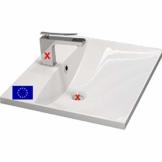 Einbau-Waschbecken 60x46cm eckig | 60cm Einbau-Waschtisch zum einlassen in eine Platte | Material: hochwertiges Mineralguss | Qualität MADE IN EU - 1