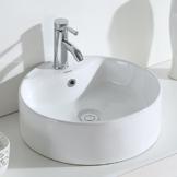 Eridanus, Serie Scott, Waschschale, Keramik Waschbecken, Rund, Groß Waschschüssel, Aufsatzwaschbecken, 46 cm - 1