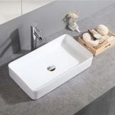 Gimify Keramik Aufsatzwaschbecken eckig Waschtisch für Badezimmer 60x34x10.5cm - 1