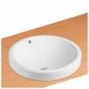 NEG Waschbecken Uno35E (rund/teilversenkt) Einbau-Waschschale/Waschtisch (weiß) mit schmalem Rand und Nano-Beschichtung - 1