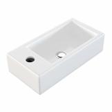 NEG Waschbecken Uno41H (extra klein/eckig/Armatur links) Hänge-Waschschale (weiß) mit Nano-Beschichtung - 1