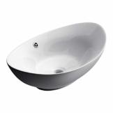 Sogood Aufsatzwaschbecken Oval Keramik weiß inkl. Nano-Versiegelung Brüssel818 - 1