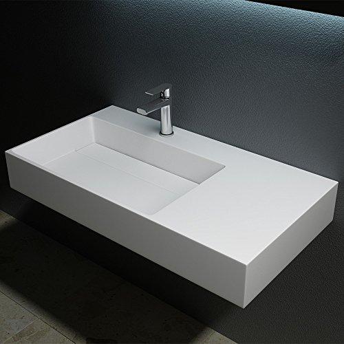 Sogood BTH: 90x48x13 cm Design mineralguss Waschbecken Colossum12, in reinweis, aus Gussmarmor, als Aufsatzwaschbecken und Hängewaschbecken geeingnet - 2